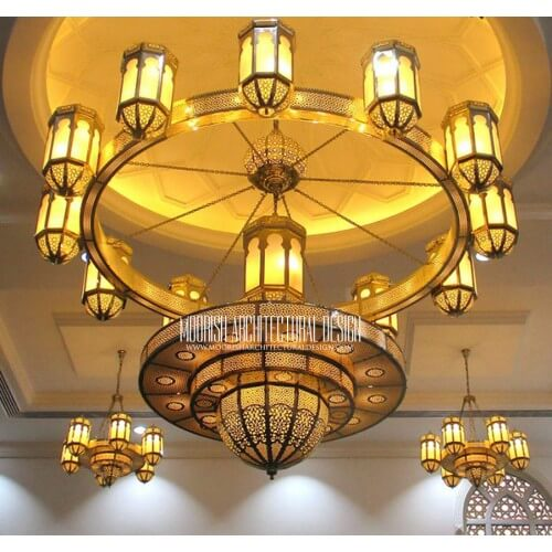 Large Moroccan hotel chandelier